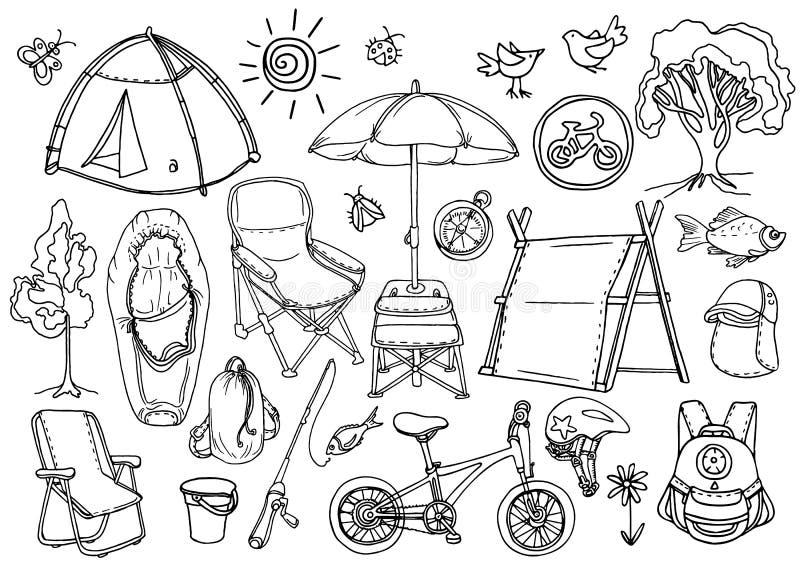 Doodle nakreślenie Set dzieci trekking wektor royalty ilustracja