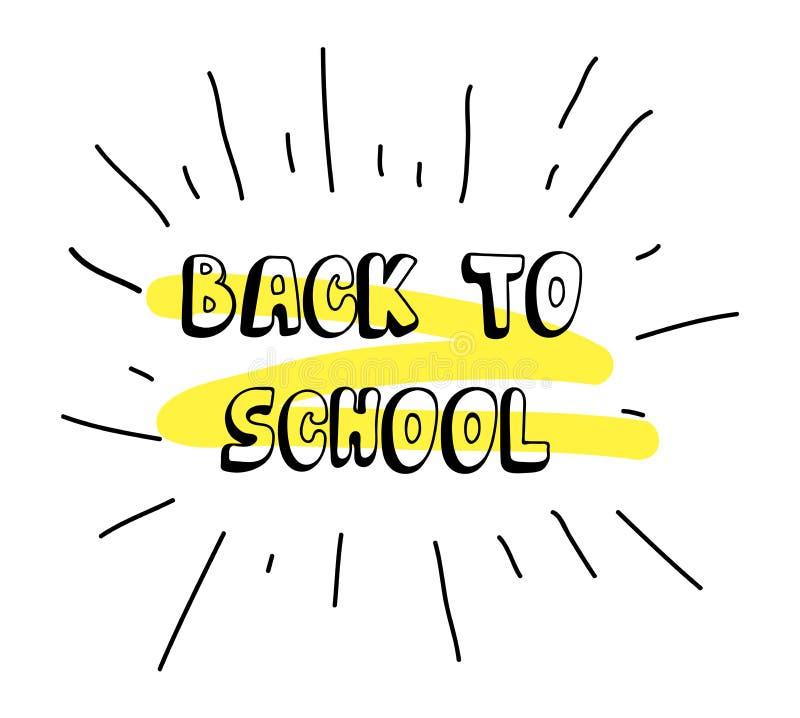Doodle nakreślenie z inskrypcją z powrotem szkoła z koloru żółtego akcentem na tekscie Pojęcie pomysł dla sztandar plakatowej rek ilustracja wektor