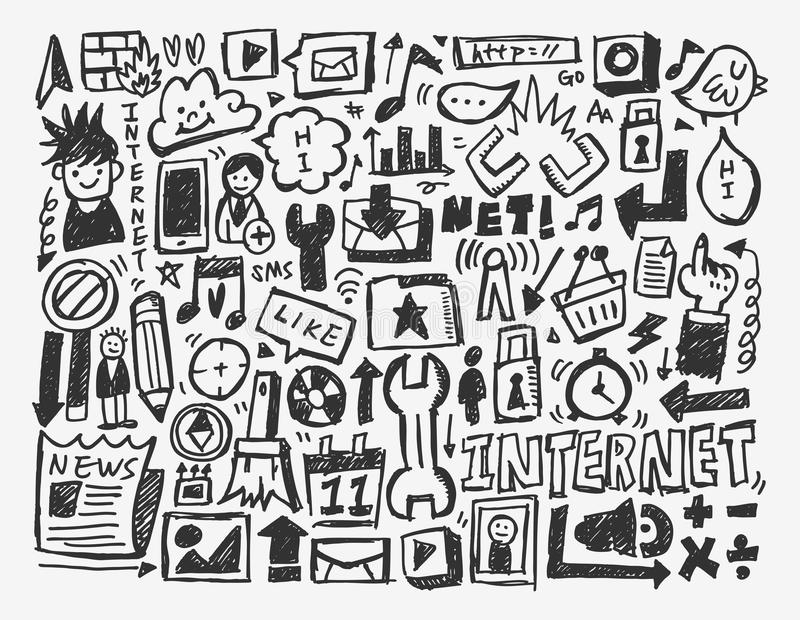 Doodle Network Element Stock Photo