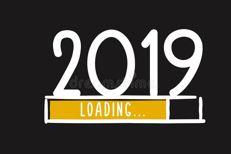 Doodle new year 2019 download screen. Progress bar almost reaching new year`s eve. Doodle new year download screen. Progress bar almost reaching new year`s eve vector illustration