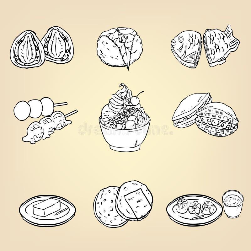 Doodle ołówkowego rysunek Japoński tradycyjny kuchnia deser fo ilustracja wektor