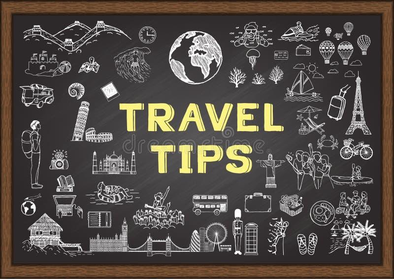 Doodle o podróży poradach na chalkboard ilustracji