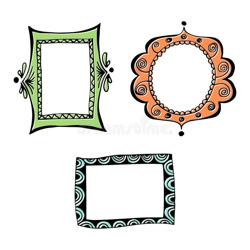 doodle obramia set ilustracji