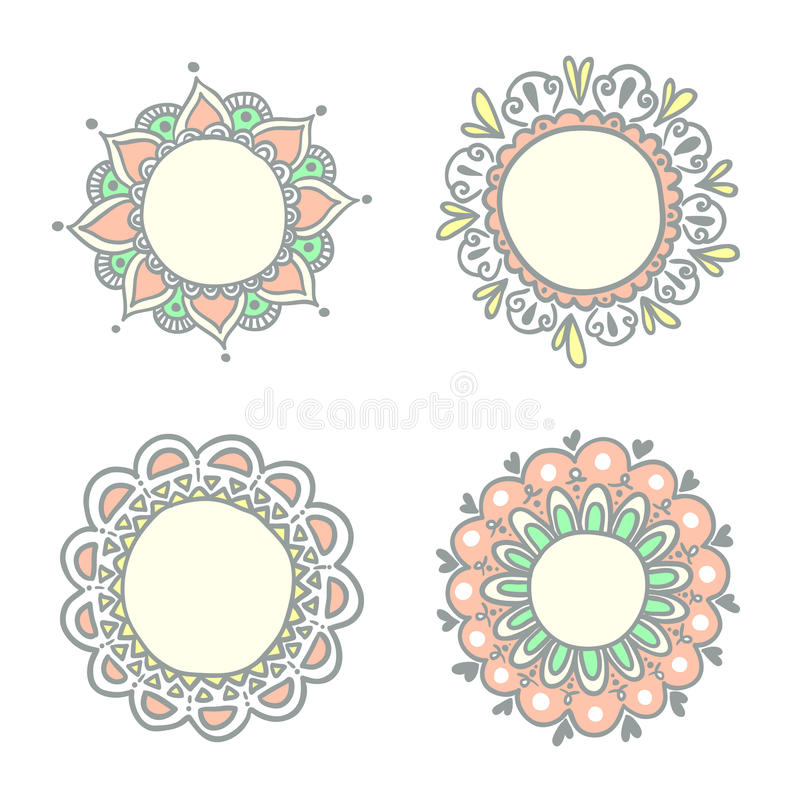 doodle obramia set royalty ilustracja