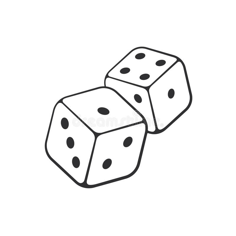 Free Doodle Of Two Dice With Contour Stock Photography - 89219772