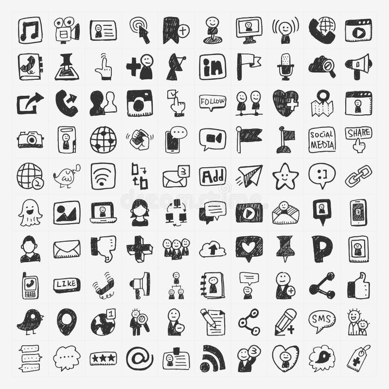 Doodle Ogólnospołeczni medialni elementy royalty ilustracja