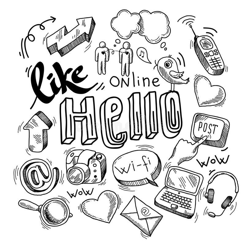 Doodle ogólnospołeczni medialni symbole ilustracji