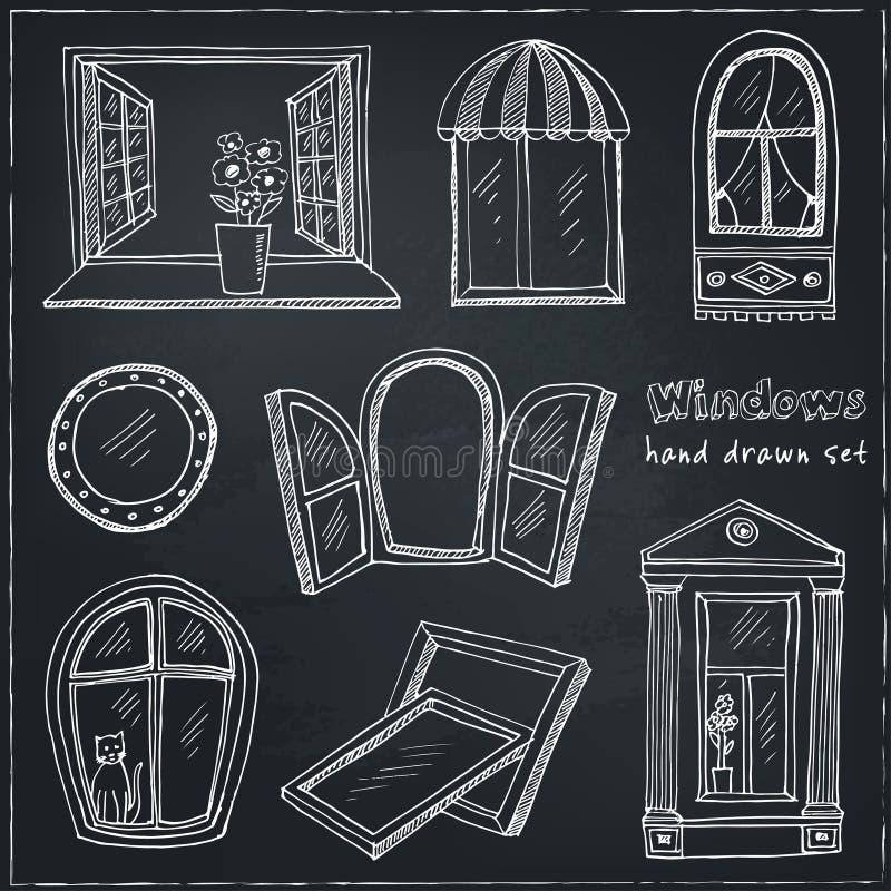 Doodle okno ustawiający odizolowywającymi również zwrócić corel ilustracji wektora royalty ilustracja