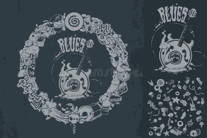 Doodle okręgu rama i błękit gitara royalty ilustracja