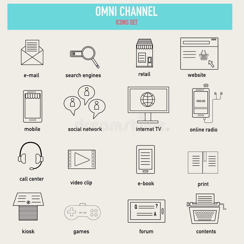Doodle OMNI-Channel concept icons for digital marketing and online shopping.Illustration EPS10. royalty free illustration