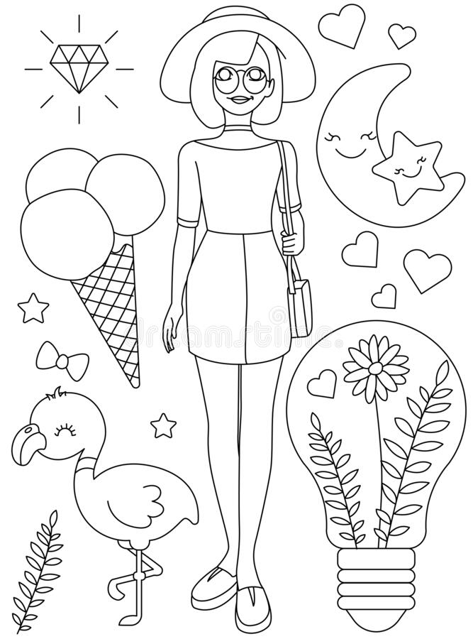 Summer fashion girl printable coloring page by silviannadesign ... | 900x667