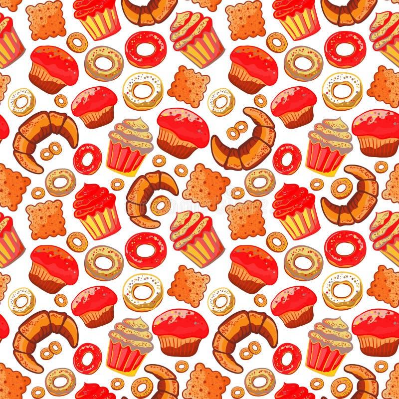 doodle Padaria, bolos e sobremesa, pastelarias, rotulando o teste padrão sem emenda Ícones coloridos do vintage, fundo doce dos e ilustração do vetor