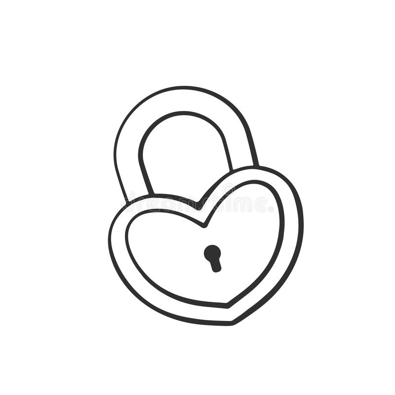 Doodle of padlock in heart shape royalty free illustration