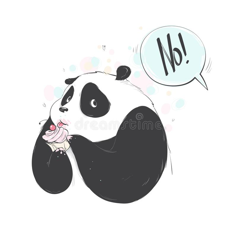 Doodle panda cute cartoon happy birthday cake for decoration design. Funny sweet vector bear with food icon. royalty free illustration