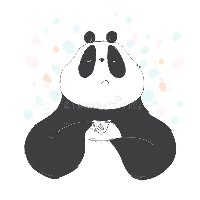 Doodle panda drink tea cute cartoon for decoration design. Funny sweet vector bear with lettering. royalty free illustration