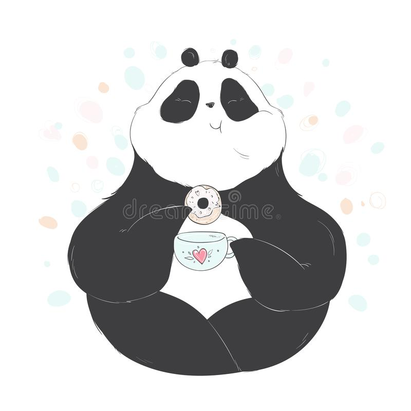 Doodle panda drink tea with donut cute cartoon for decoration design. Funny sweet vector bear with lettering. stock illustration