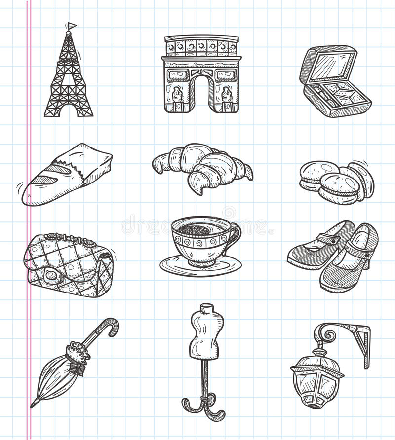 Doodle Paris element icons stock illustration