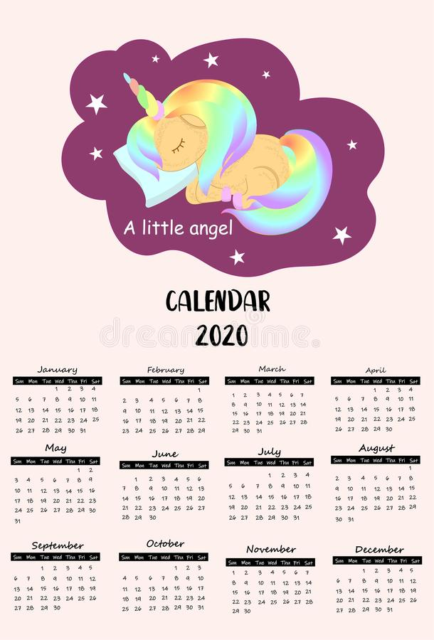 Doodle pastel calendar 2020 with unicorn, rainbow, cloud for children.Can be used for printable graphic vector illustration