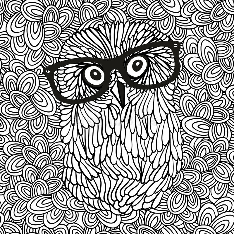 Doodle pattern with black and white hipster owl image for coloring. Vector illustration vector illustration
