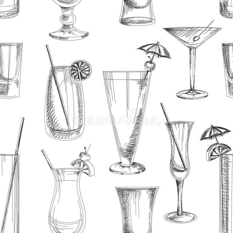 Doodle pattern cocktails. Excellent vector illustration, EPS 10 stock illustration