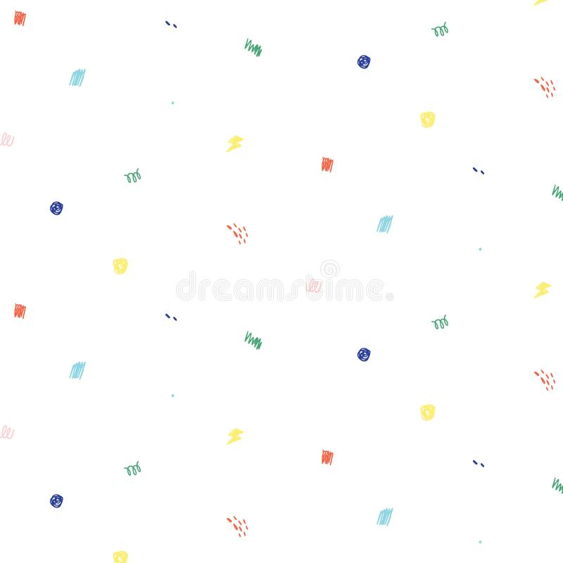 Doodle pattern illustration in minimal cartoon style.Abstract doodle wallpaper.Hand drawn vector illustration. royalty free illustration