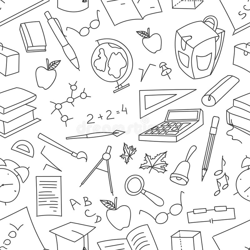 Doodle pattern of learning stock illustration