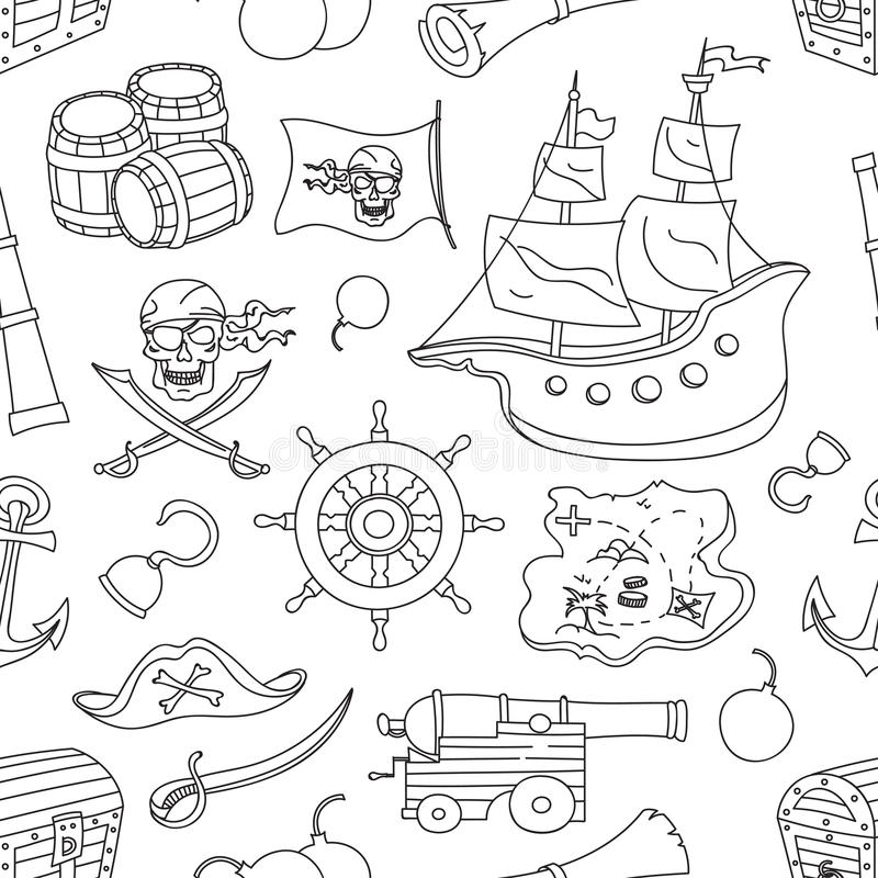 Doodle pattern set of pirates royalty free illustration