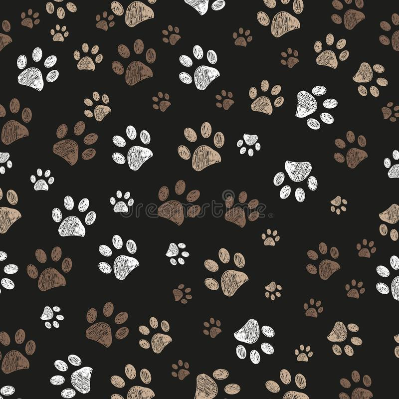 Doodle paw print brown colored with black background stock illustration