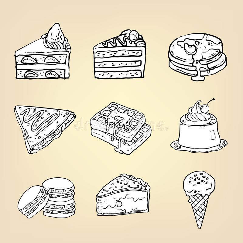 Doodle pencil drawing of cake cheesecake waffle pudding. Macaroon ice cream crepe pancake pie and other international sweet dessert icon collection set, create stock illustration