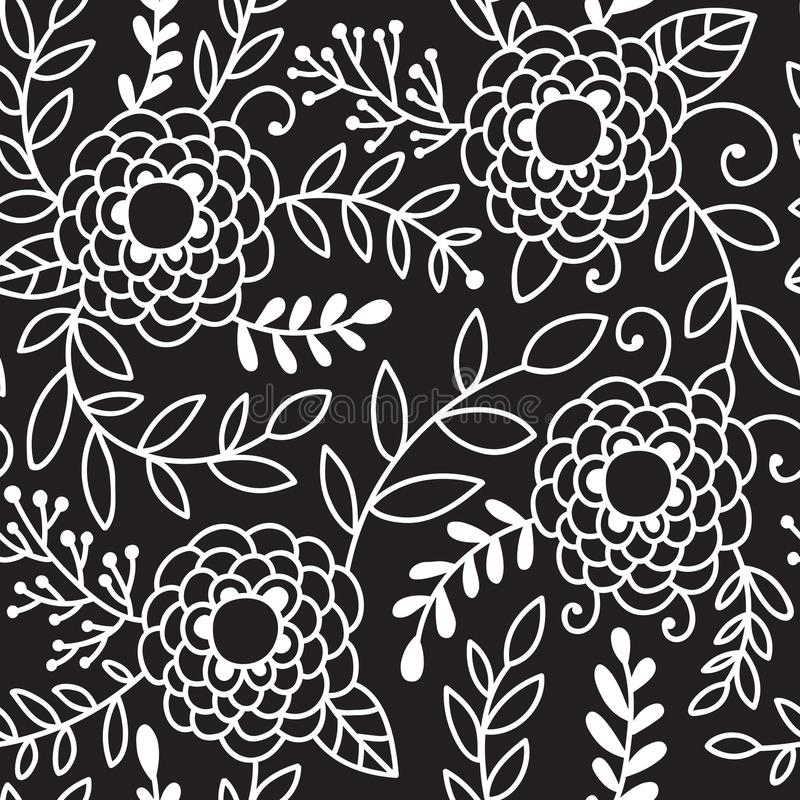 Doodle peony flowers vector seamless pattern. Black and white hand drawn floral background stock illustration