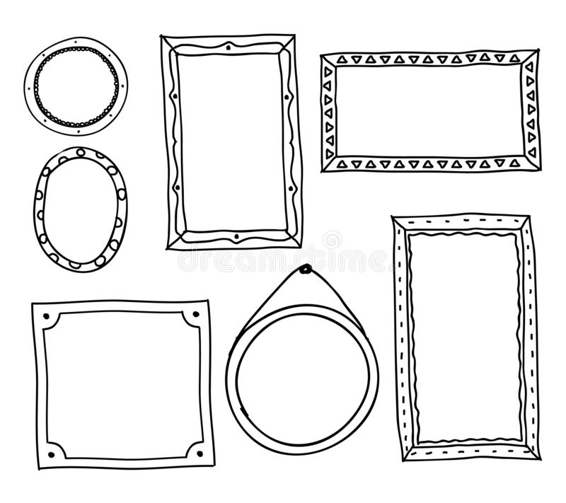 Doodle photo frames. Hand drawn square oval circle picture frames, scrapbook scribble journaling borders retro set vector illustration