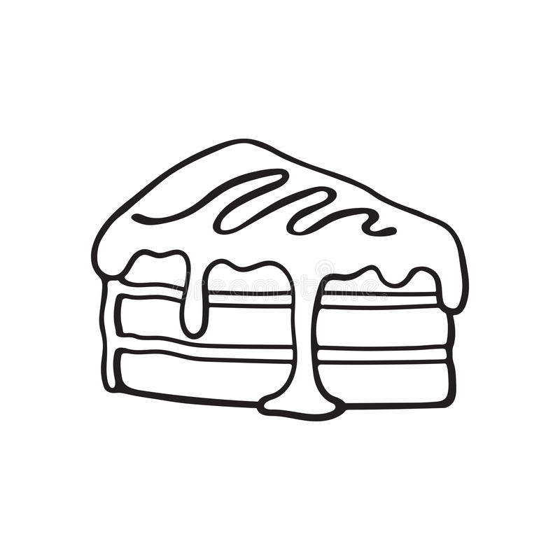 Doodle of a piece of cake with cream and syrup. Vector illustration. Hand drawn doodle of a piece of cake with cream and syrup. Cartoon sketch. Decoration for vector illustration