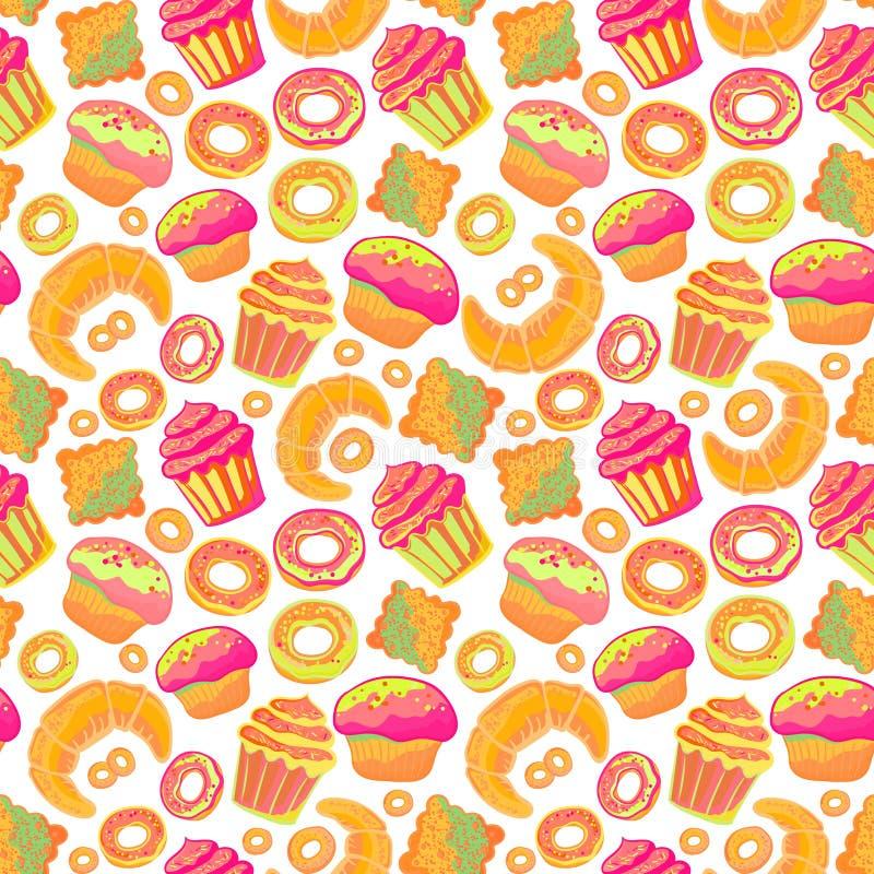 doodle Piekarnia, torty i deser, ciasta, pisze list bezszwowego wzór Barwione rocznik ikony, słodki elementu tło ilustracja wektor