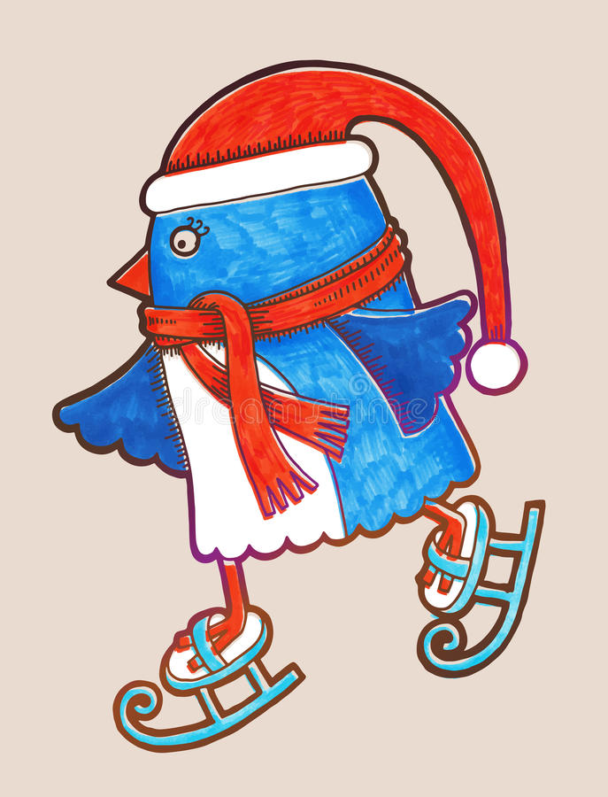 Doodle pingwinu jazda na łyżwach, markier ilustracja, ilustracji
