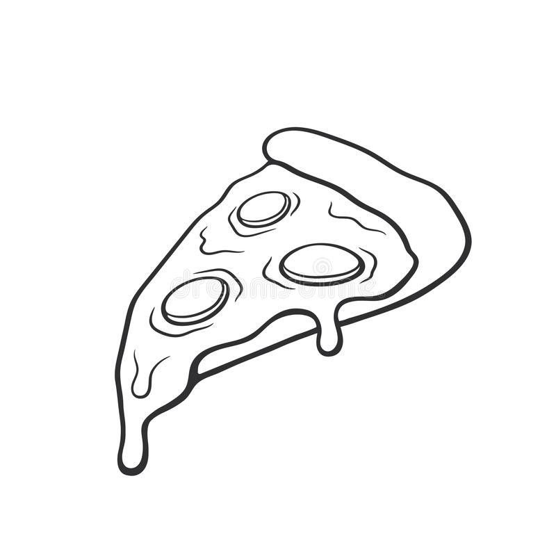 Doodle pizza slice stock illustration