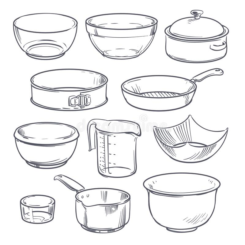 Doodle plastic and glass bowls, pot and frying pan. Vintage hand drawn vector cookware isolated royalty free illustration