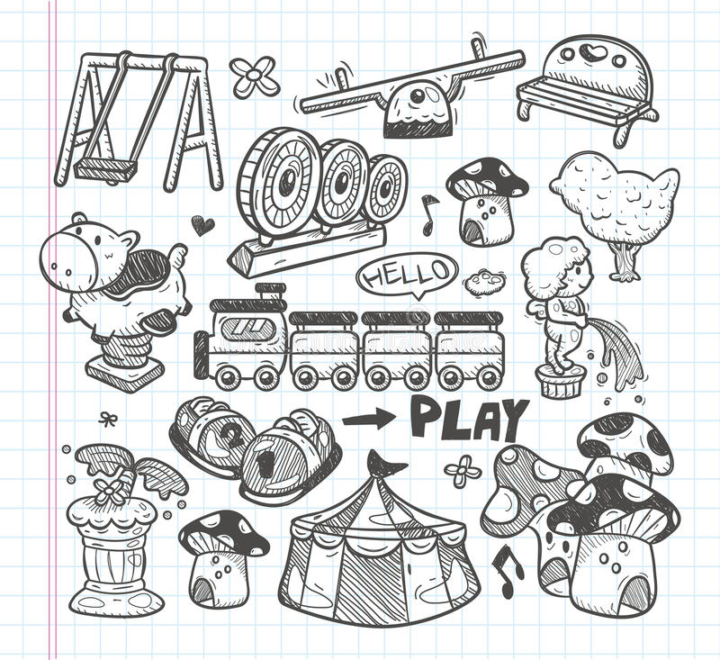 Download Doodle Playground Icons Stock Image - Image: 33416601