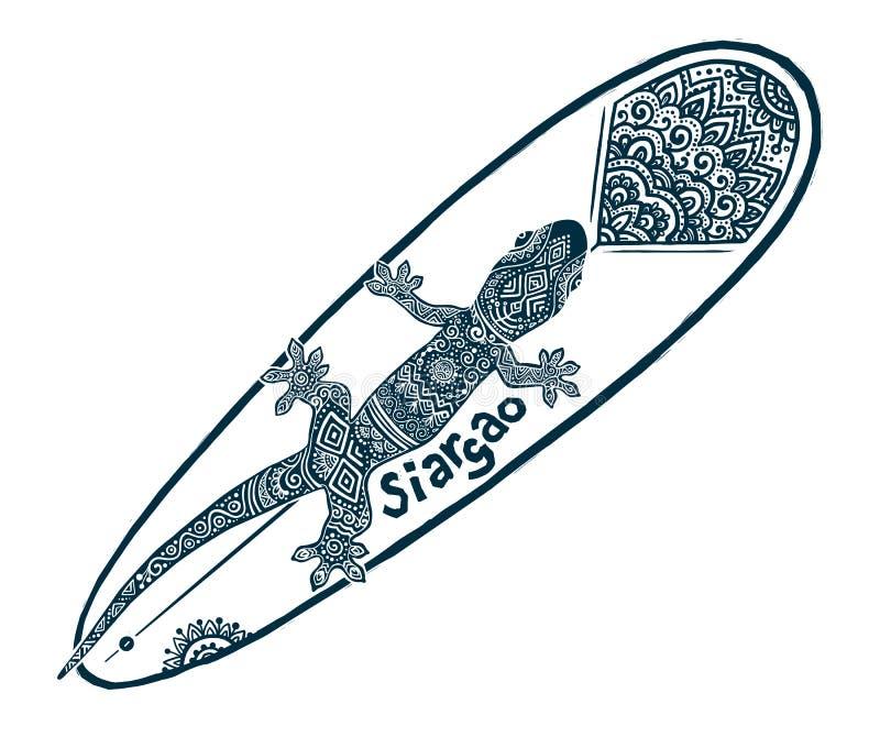 Doodle plemiennego tatuażu stylu surfingu wektorowego longboard z ozdobnym gekonem na nim i podpisuje Siargao ilustracja wektor