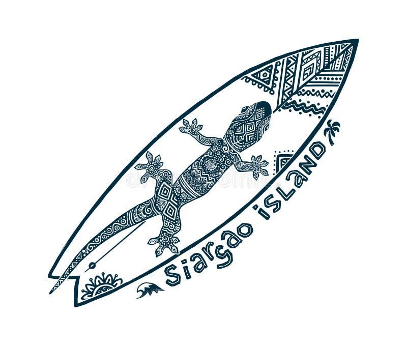 Doodle plemiennego tatuażu stylu wektorowego surfboard z ozdobnym gekonem na nim i podpisuje Siargao wyspę Symbol Filipiny royalty ilustracja