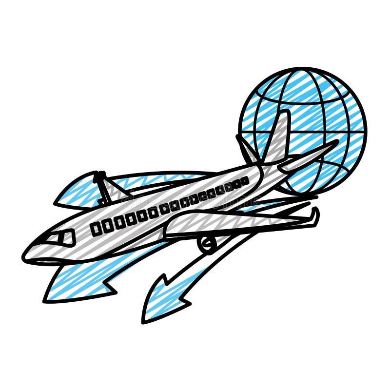 Doodle podróży samolotu transport z globalnym symbolem ilustracja wektor