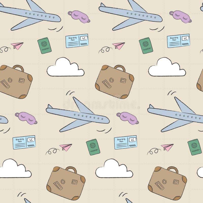 Doodle podróży samolotowy wzór royalty ilustracja