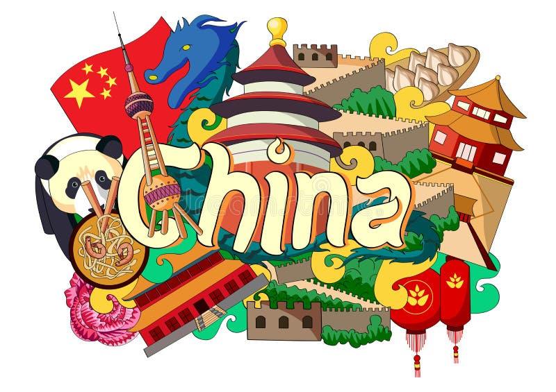 Doodle pokazuje architekturę i kulturę Chiny royalty ilustracja