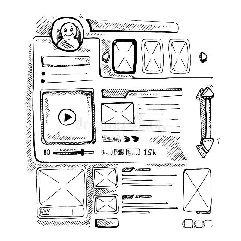 doodle portfolio wireframe stock vector  illustration of