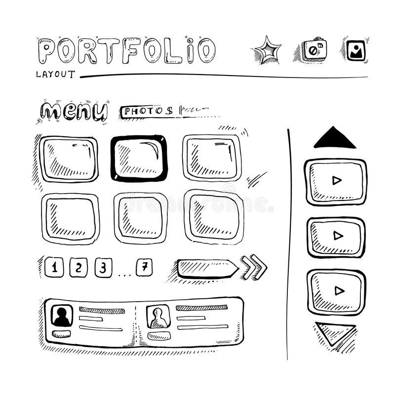 Doodle portfolio wireframe. Wireframe UI Kit. Web design portfolio sketch elements stock illustration