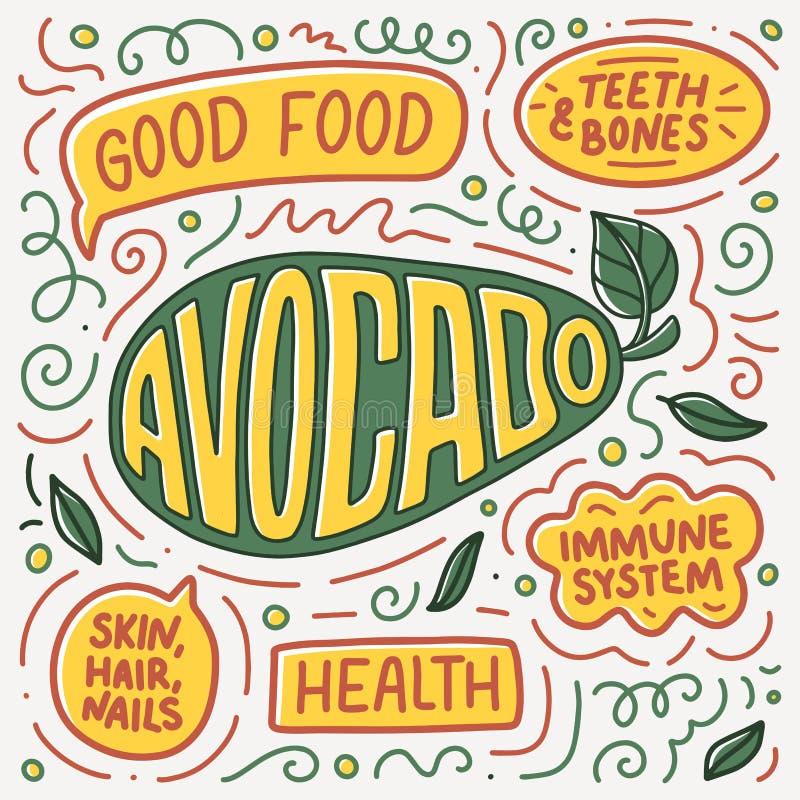 Doodle poster with Lettering. Natural food. Logo design. Sign banner for cooking, vector illustration. Diet menu. Organic raw vegan avocado vector illustration