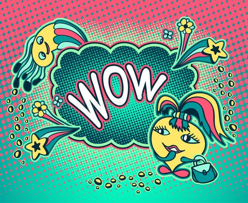 Doodle potwora dziewczyna z gwiazdy mowy bąblem i wpisowym no! no! royalty ilustracja