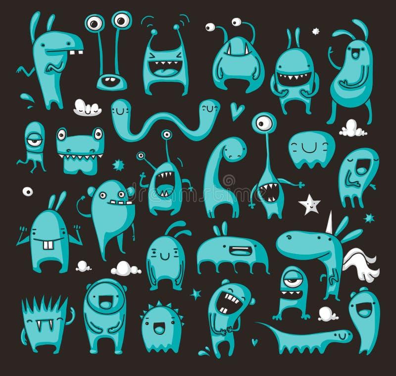 Doodle potwora kolekcja royalty ilustracja