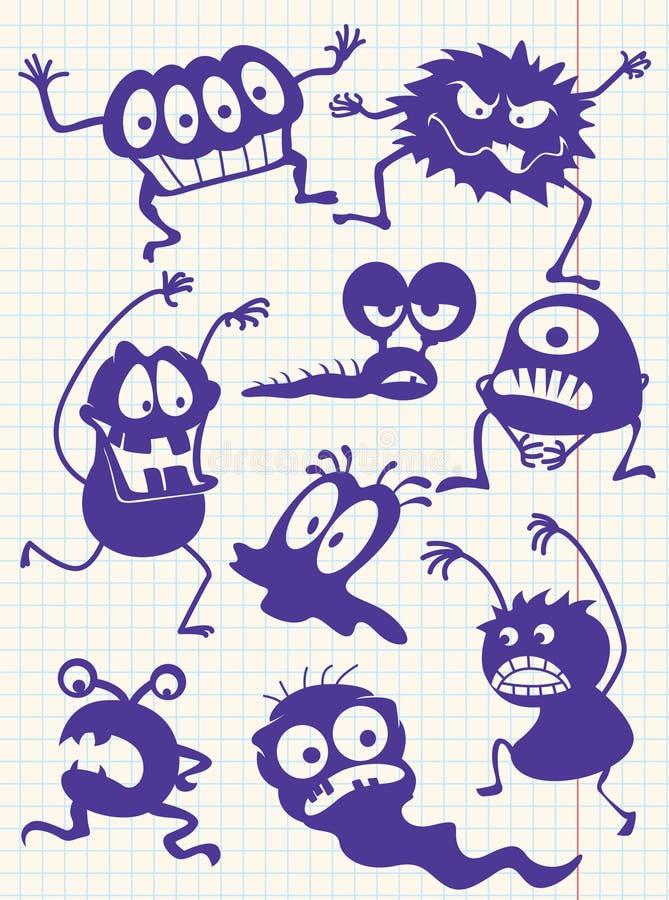 Download Doodle potwory ilustracja wektor. Ilustracja złożonej z charakter - 13325883