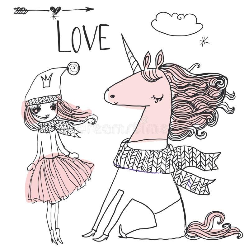 Doodle princess z jednorożec royalty ilustracja