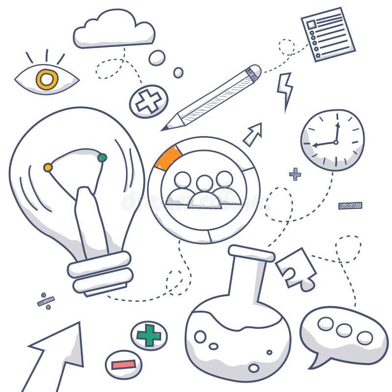 Doodle projekta stylu pojęcie kreatywnie pomysł, znajduje rozwiązanie, brainstorming, kreatywnie główkowanie Nowożytna kreskowego royalty ilustracja
